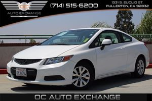 2012 Honda Civic Cpe LX Carfax Report - No AccidentsDamage Reported  Taffeta White     1589