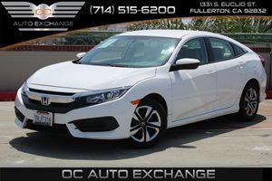 2016 Honda Civic Sedan LX Carfax 1-Owner  Taffeta White  We are not responsible for typographi