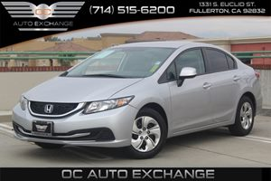 2013 Honda Civic Sdn LX Carfax 1-Owner - No AccidentsDamage Reported  Alabaster Silver Metalli