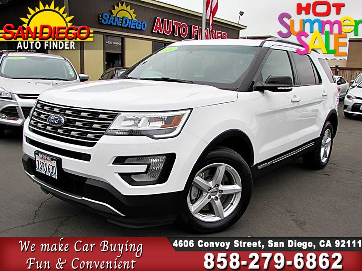 2016 Ford Explorer, XLT,7 PSSNGR,4WD,MILITARY DISCOUNT, SdAutoFinders COM,  1 OWNER CLN CARFAX - San Diego Auto Finder