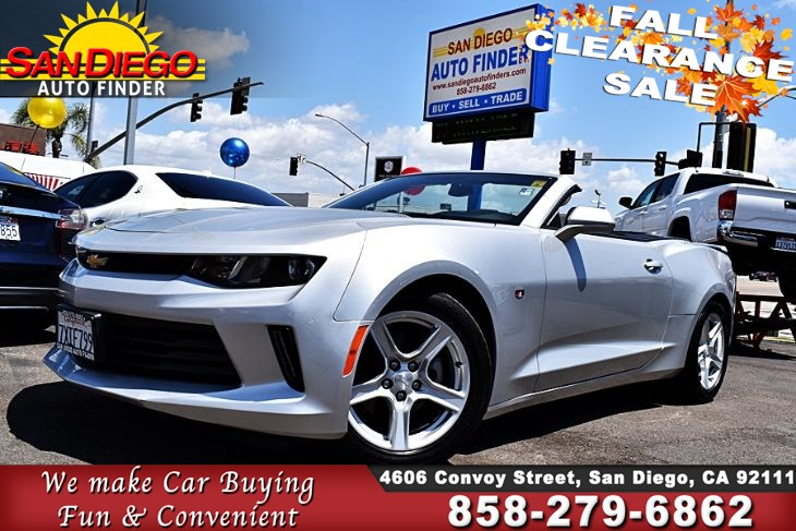 2018 Chevrolet Camaro LT Convertible 1 Owner,Clean Carfax, SdAutoFinders.com,4 cyl Turbo,Gas saver but Fast,