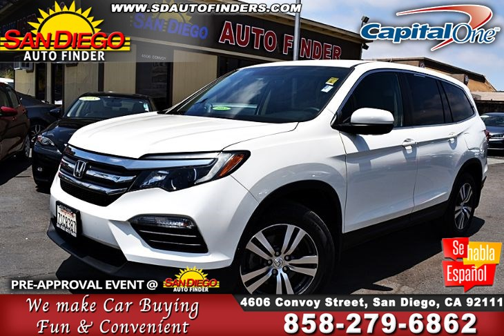 2016 Honda Pilot EX 3rd Row Super Clean New Tire's & Service. Clean Carfax SdAutofinders.com Must See!!!
