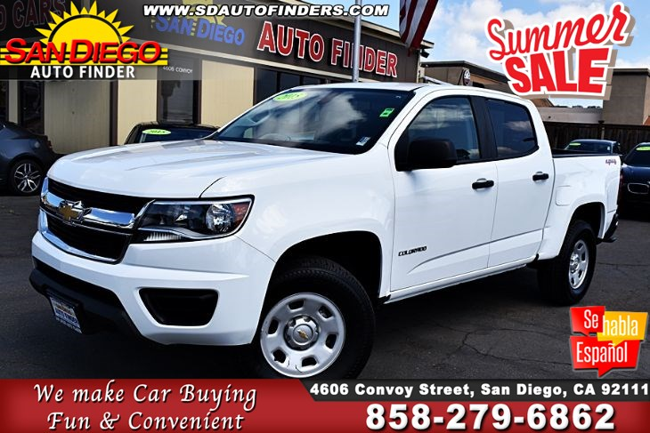 2015 Chevrolet Colorado, 4WD Crew Cab,Low Miles,1 Owner, SdAutoFinders.com,Clean Carfax,Just Awesome,