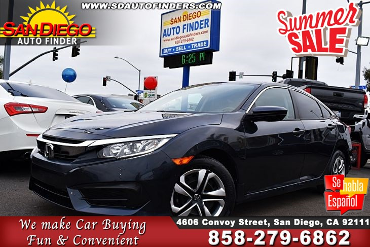 2018 Honda Civic Sedan LX, 1 Owner, Like New, Low Miles, SdAutoFinders.com, Super Nice, Great Value,