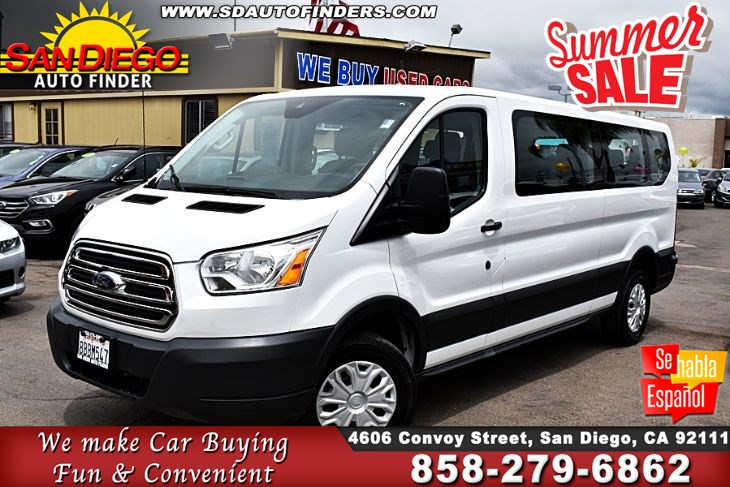 "2018 Ford Transit 15Pasngr,T-350 148"" Low Roof XLT, SdAutoFinders.com,1 Owner,Like New,"