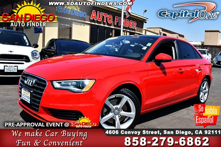 2015 Audi A3 1.8T Premium,Low Miles, Pano roof,Loaded,Mint, SdAutoFinders.com,Just Gorgeous,Cln Carfax,