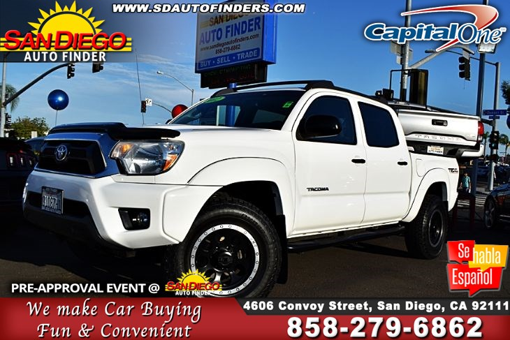 2012 Toyota Tacoma PreRunner,TRD,Double Cab V6 AT,many extras, SdAutoFinders.com,A Must See,Priced for quick sell