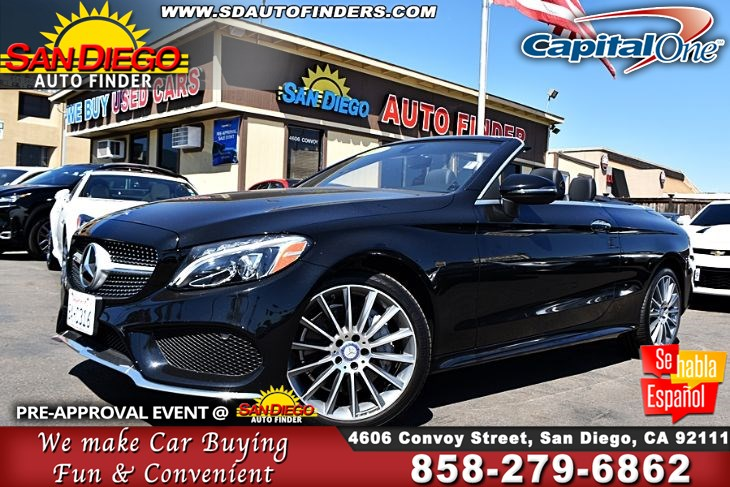 2017 Mercedes-Benz C 300 4MATIC Cabriolet,Low Miles,1 owner,Like New, SdAutoFinders.com,Clean Carfax,Great Price,