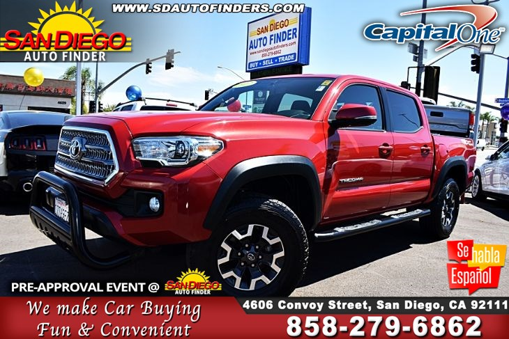 2017 Toyota Tacoma TRD Off Road Double Cab 5' Bed V6,Awesome, SdAutoFinders.com,Loaded,Navi,Don't miss it,