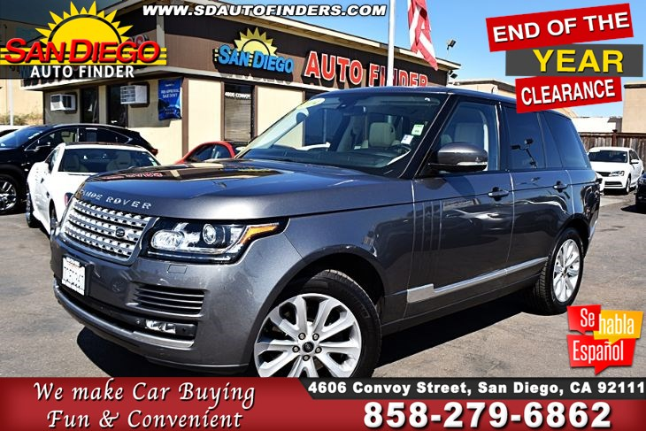 2014 Land Rover Range Rover HSE 4WD  3.0 SuperCharged, Clean Carfax 1-Owner SdAutoFinders.com,