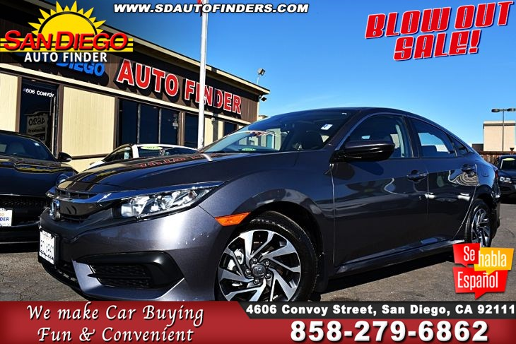2018 Honda Civic SEDAN EX,12K Miles 1-Owner Clean Carfax 40mpg MOONROOF ,SDAUTOFINDERS.COM,