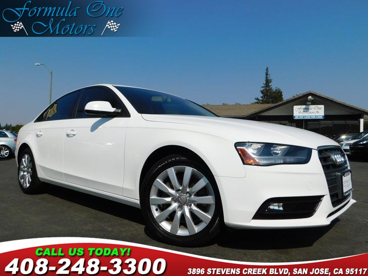 2014 Audi A4 Premium BeigeBlack Leather Seating Surfaces Front License Plate Holder Ibis White