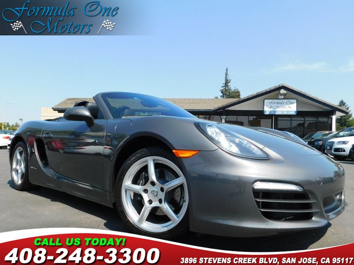 2013 Porsche Boxster  Agate Grey Metallic Black Top Black Leather Seat Trim WFull Leather In