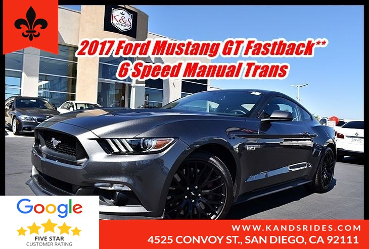 2017 Ford Mustang GT Fastback 6 Speed Manual Trans BackUp Cam Keyless Start Bluetooth Fog Lamps 1 Onwer