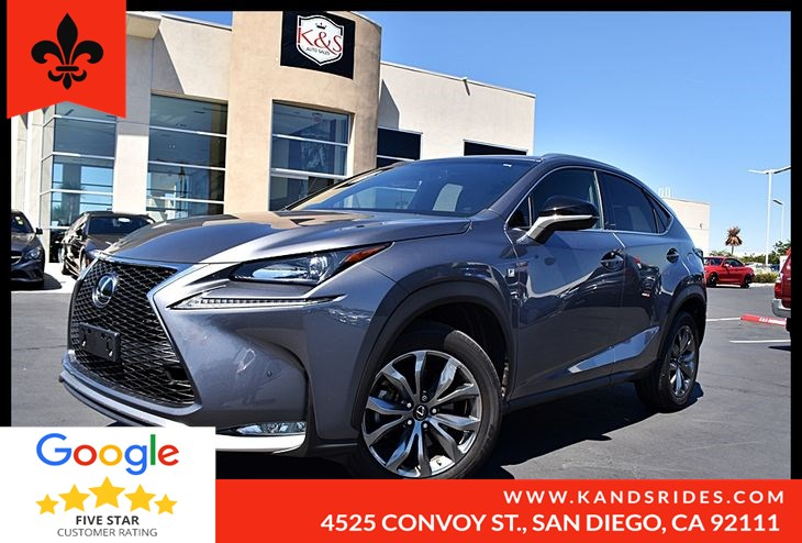 2016 Lexus NX 200t F Sport BackUp Cam BSM Navigation Sys Moonroof Bluetooth Leather Rear Prk Aid 1 Owner