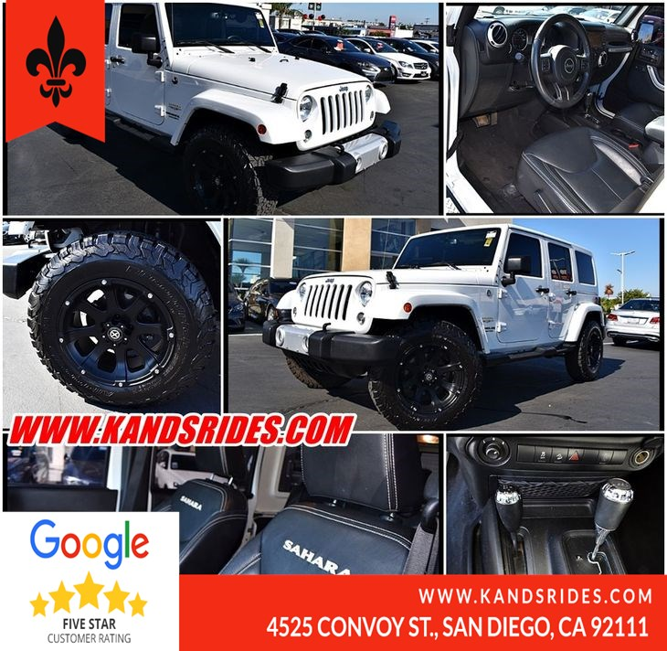 2015 Jeep Wrangler Unlimited 4WD Sahara Nav Pkg 1 Owner Targa Roof Prem Sound Fog Lamps Running Boards