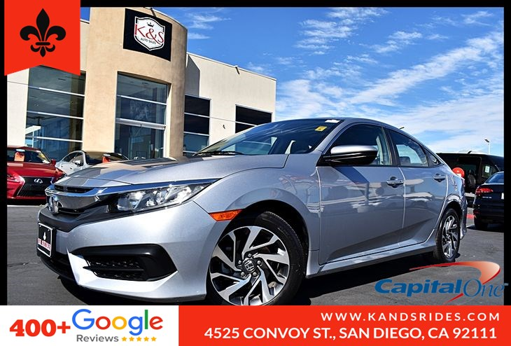 2017 Honda Civic EX CVT Moonroof BackUp Cam Bluetooth Sat Rad Smart Device Device Inte Keyless Start TPM 1 Owner