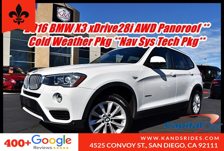 2016 BMW X3 xDrive28i AWD*Panoroof*Cold Weather Pkg Nav Sys Tech Pkg* Prem Pkg*Lighting Pkg* 1 Owner