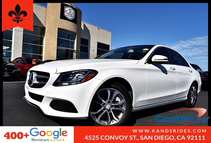2016 Mercedes-Benz C 300 BackUp Cam Panoramic Roof Navigation Sys BSM Dual A/C Keyless GO Aux Audio Input 1 Owner Carfax