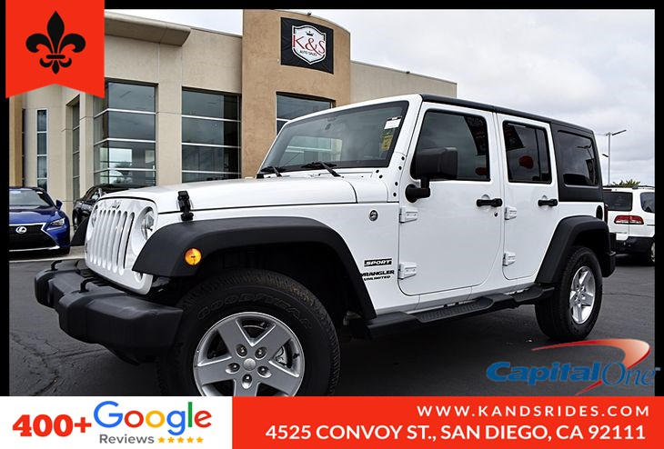 2016 Jeep Wrangler Unlimited Sport 4WD Hardtop Fog Lamps Sat Radio MP3 Auxiliary Audio Input