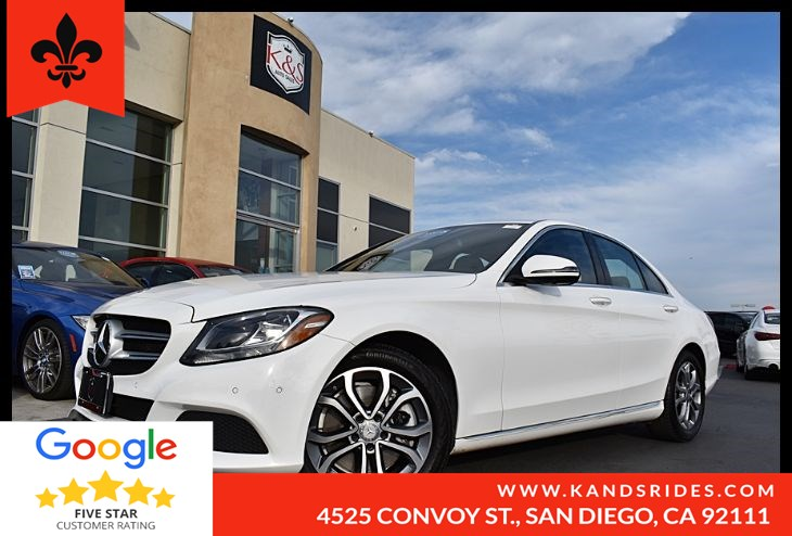 2016 Mercedes-Benz C 300 RWD BSM BackUp Cam Bluetooth 360 View Cam  Pwr Driver Seat 2.0 Turbocharged