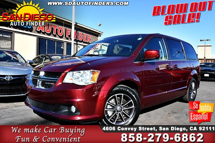 2017 Dodge Grand Caravan, SXT, Loaded, Jst Like New, SdAutoFinders.com,1 Owner, Clean Carfax,