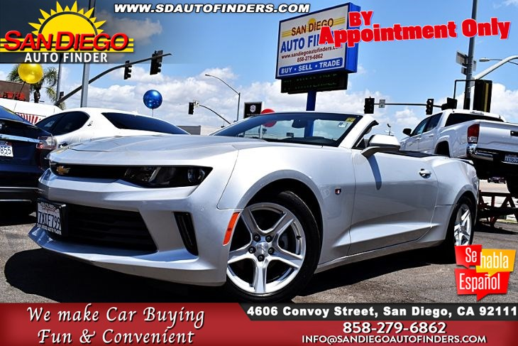 2018 Chevrolet Camaro LT Convertible 1-Owner,Clean Carfax, TurboCharged 2.0L 4 Cylinder Sdautofinders.com