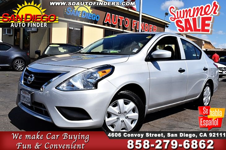 "2017 Nissan Versa Sedan S, Manual Trans,Super Nice, SdAutoFinders.com,Clean Carfax, ""Priced to sell"","