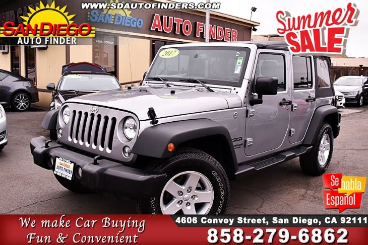2017 Jeep Wrangler Unlimited, Sport 4x4,1 Owner, SdAutoFinders.com,Clean Carfax,Just Awesome,