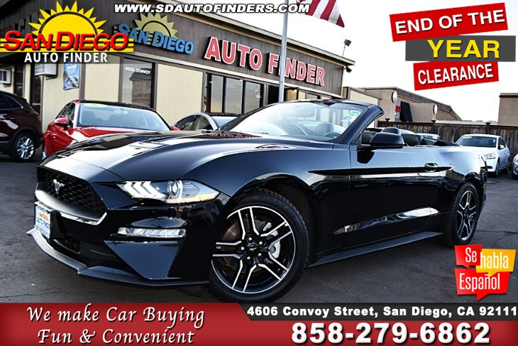 2018 Ford Mustang EcoBoost Premium Convertible,Like New, SdAutoFinders.com, Leather,triple blk,Very Sharp,