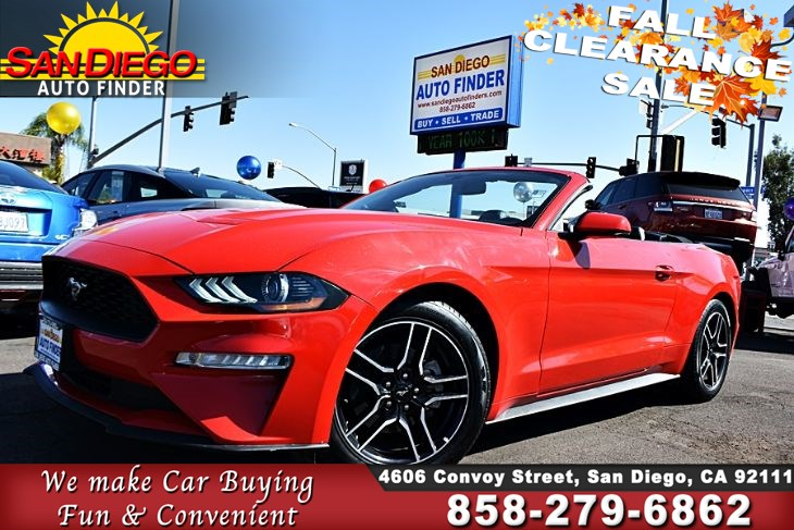 2018 Ford Mustang EcoBoost Premium Convertible,1-Owner, Clean Carfax Leather Seats SdAutoFinders.com,