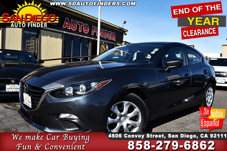 2015 Mazda 3 i Sport HatchBack A/T 1-Owner Clean Carfax 40mpg GREAT DEAL!! Sdautofinders.com