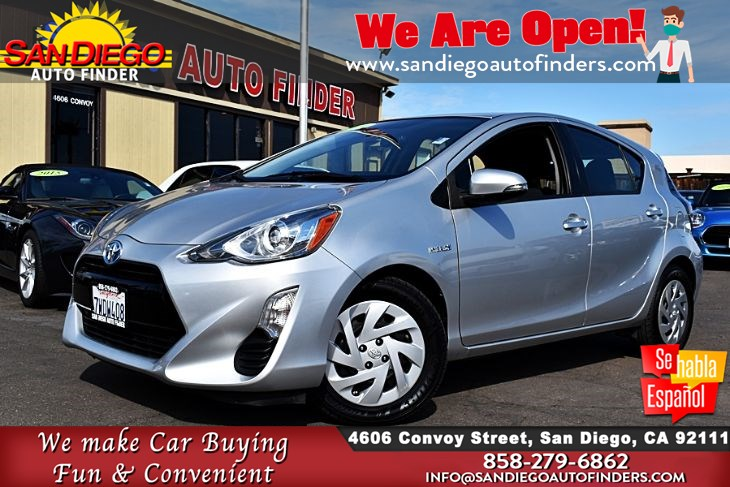 2016 Toyota Prius c Two Hatchback Gas/Electric Hybrid City: 53 Hwy: 46 MPG 1-Owner Sdautofinders.com