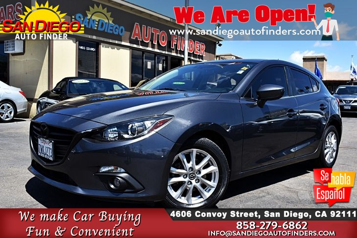 2016 Mazda 3,i Touring Hatchback MoonRoof Clean Carfax Keyless Start City 30 Hwy 40  Sdautofinders.com,