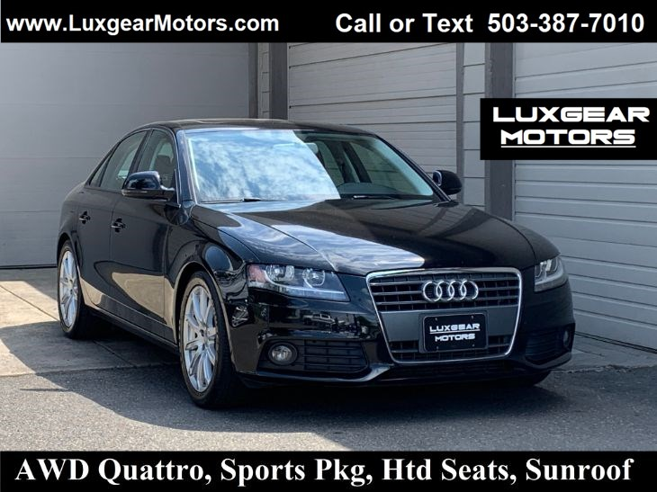 2009 Audi A4 2.0T Prem, Sports Pkg, Htd Seats, Sunroof, Leather