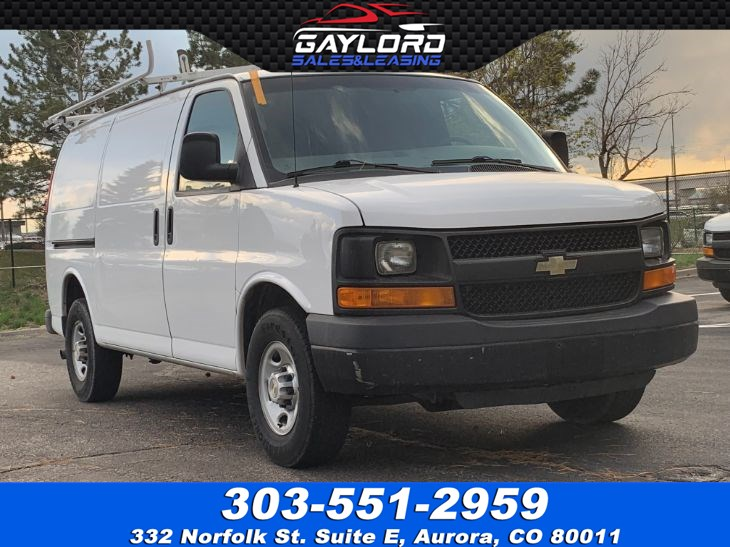 "2012 Chevrolet Express G3500 Cargo Van 135"" Passenger Side Sliding Door,Partition, Bins, Ladder Rack"